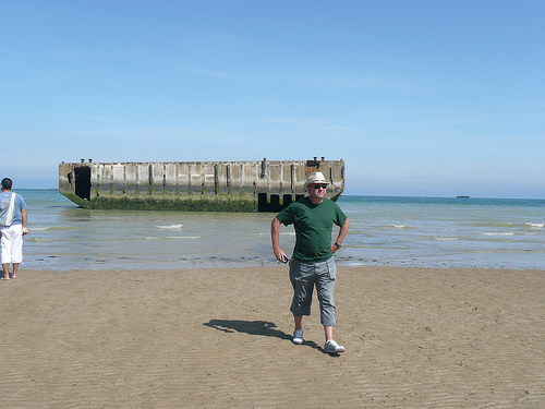 How the hell did they get something that big across the Channel? Pic also shows a section of Mulberry harbour