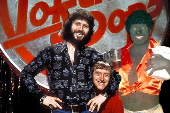 Dai Lee Tervis (right), pictured with Dave Lee Travis (The Horny Cornflake) and Dive Low Crevis.
