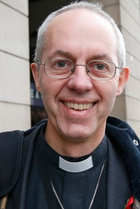 Justin Welby, the Bishop of Durham, walks through Westminster in London
