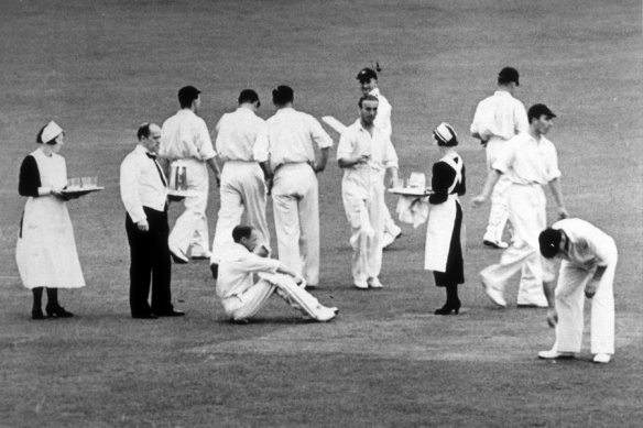 Old style: players are served tea at Headingley 1938 © Joe Darling, Australia's flinty captain, suggested a tea-break when he led the 1899 team to England, and it was taken up after a fashion - refreshments were brought out to the players on the field. In 1902 the same system applied, and it wasn't till 1905, with Darling still in charge, that the players officially left the field.