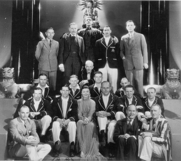 Bradman in Canada, Toronto. The Australian players photographed with the cast of The Mask of Fu Manchu (1932) including Boris Karloff (as Fu Manchu, back row), Myrna Loy (middle front row) and director Charles Brabin (far right, back row). Bradman is seated 2nd front row, far right. Image courtesy of The Sir Donald Bradman Scrapbook Collection at The State Library of South Australia